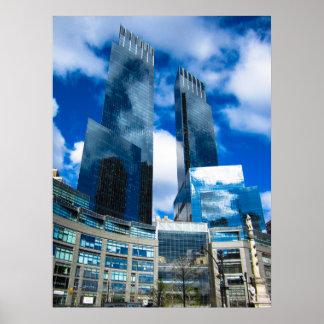 Póster Reflexión del cielo de los rascacielos NYC