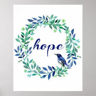 """Póster Refrán de motivación """"esperanza"""" con el pájaro y"""