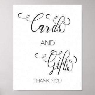 Póster Regalos de las tarjetas indicadas con letras de la