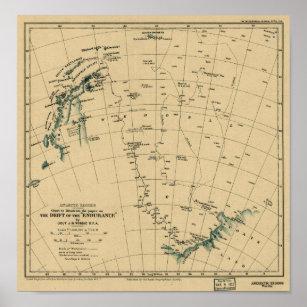 """Póster Regiones antárticas """"deriva del mapa de la"""