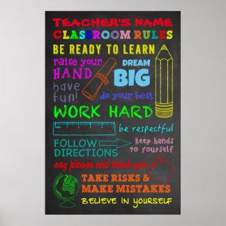 Póster Reglas de la sala de clase - el regalo del
