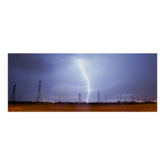 Póster Relámpago Galveston de la tempestad de truenos de