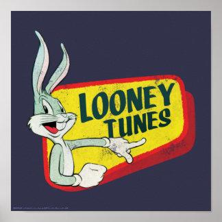 Póster Remiendo retro LOONEY del ™ TUNES™ de BUGS BUNNY