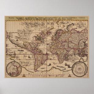 """Póster """"Reproducción del siglo XVI del mapa de Viejo"""