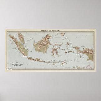 Póster República del mapa de Indonesia (1957)