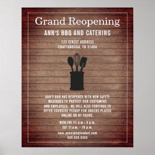 Póster Restaurante Gran Reapertura Rústica de Seguridad