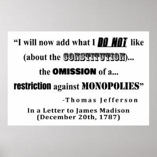 Póster Restricción en la cita de Thomas Jefferson de los