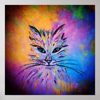 Póster Retrato abstracto precioso del gato, colorido