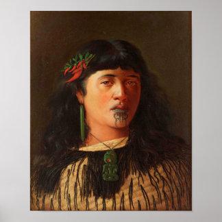 """Póster """"Retrato de una mujer maorí joven con Moko"""