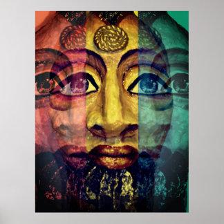Póster Retrato egipcio psicodélico utópico