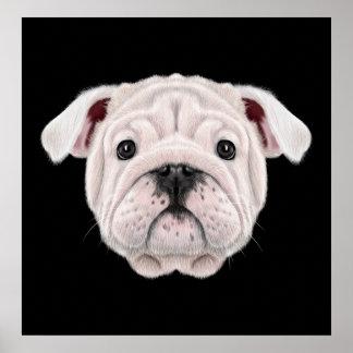 Póster Retrato ilustrado del perrito inglés del dogo