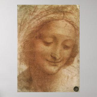 Póster Retrato Santa Ana de Leonardo da Vinci