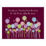 Poster retro bonito de las flores y de las maripos