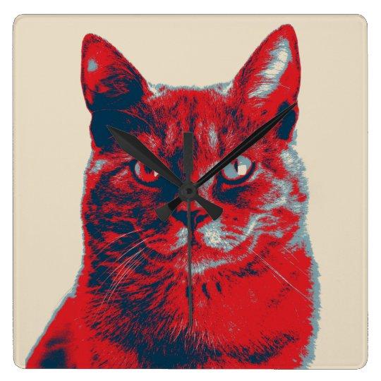 Poster retro de la esperanza del gato reloj cuadrado