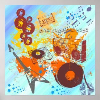 Poster retro de la música de los años 80
