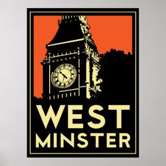poster retro del art déco de Londres Westminster I Póster