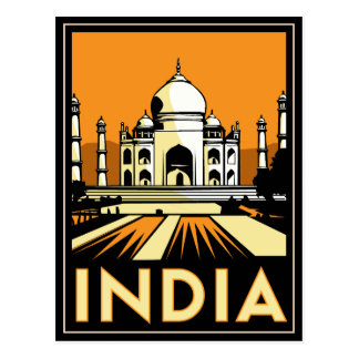 poster retro del art déco del Taj Mahal la India Postal