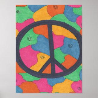 Poster retro del arte del símbolo de paz