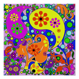Poster retro del Hippie de Paisley de las flores