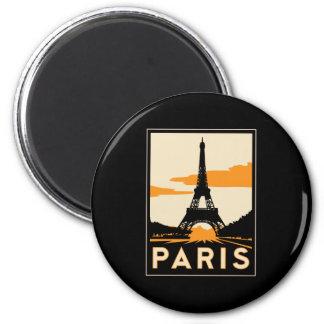 poster retro del viaje del art déco de París Imán Redondo 5 Cm