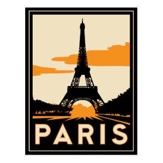 poster retro del viaje del art déco de París Postal