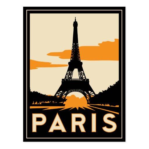 poster retro del viaje del art déco de París Tarjetas Postales