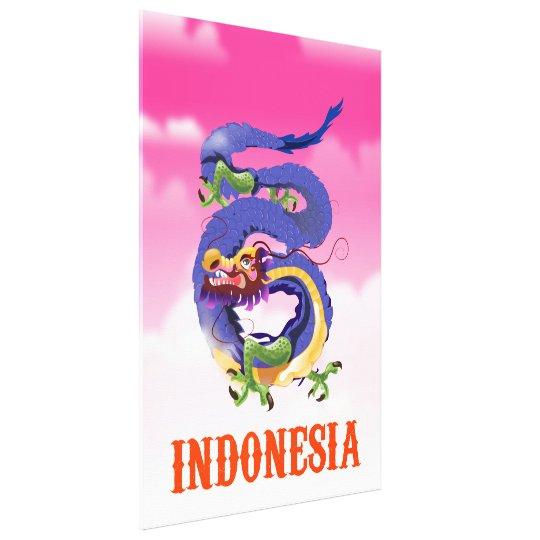 Poster retro del viaje del dragón de Indonesia Lienzo