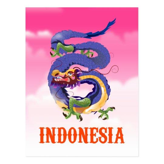 Poster retro del viaje del dragón de Indonesia Postal