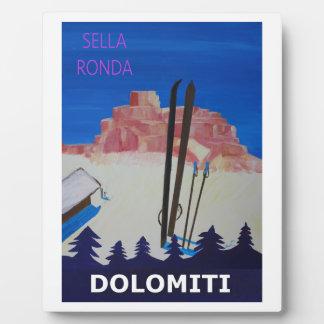 Poster retro Dolomiti Italia en Sella Ronda Placa Expositora