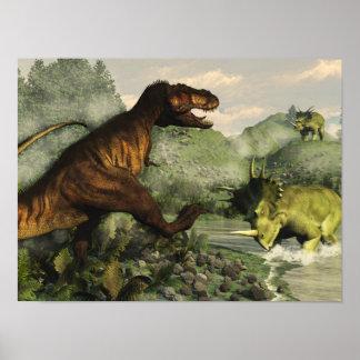 Póster Rex del Tyrannosaurus que lucha contra