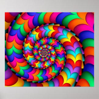 Poster rizado del espiral del arco iris de la