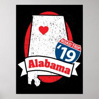 Póster Roadtrip '19 Alabama - poster oscuro