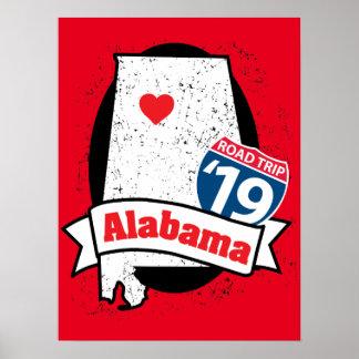 Póster Roadtrip '19 Alabama - poster rojo