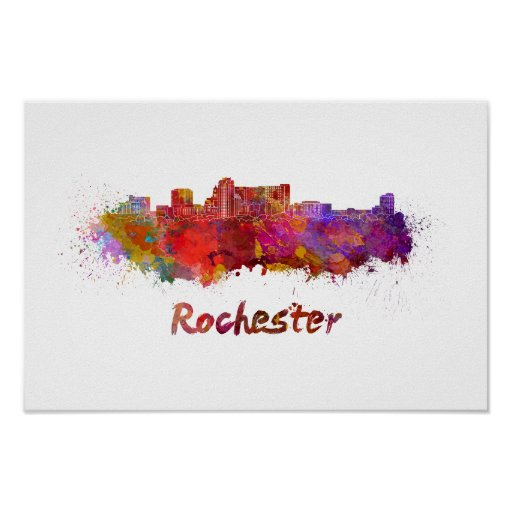 Póster Rochester MN skyline in watercolor