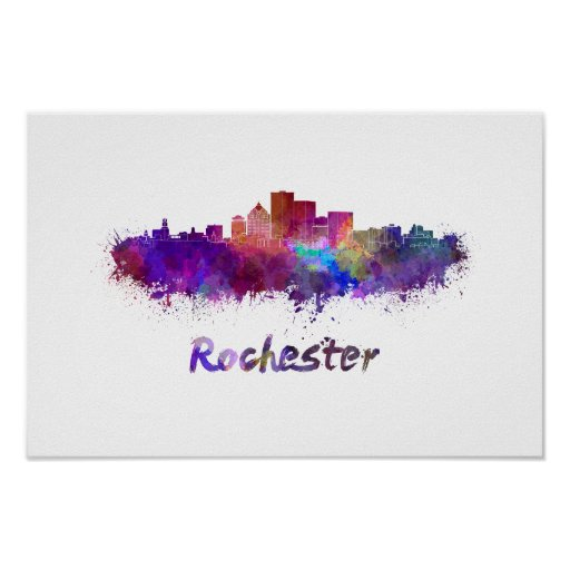 Póster Rochester skyline in watercolor