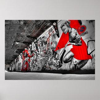 Poster rojo, blanco y negro de la pintada del arte