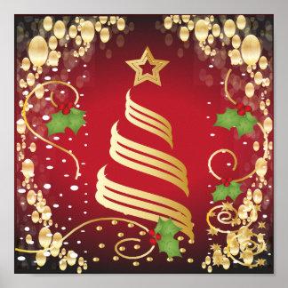 Póster Rojo brillante festivo y oro de las Felices