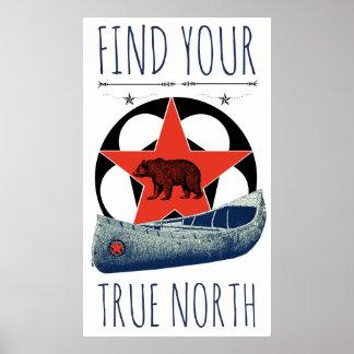 Poster rojo de la estrella de la canoa del oso póster