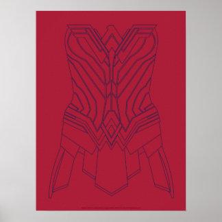 Póster Rojo de la Mujer Maravilla y esquema de la
