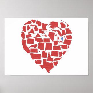 Póster Rojo de Vermont del mosaico del corazón de los