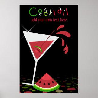 Poster rojo del cóctel de Martini de la sandía