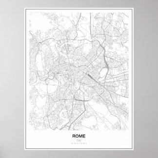 Póster Roma, Italia, poster minimalista del mapa (estilo