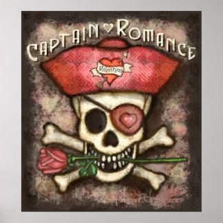 Poster romántico del pirata del el día de San Vale