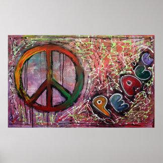 Poster rosado de la paz póster