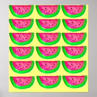 Poster rosado del arte pop de la fruta de la sandí
