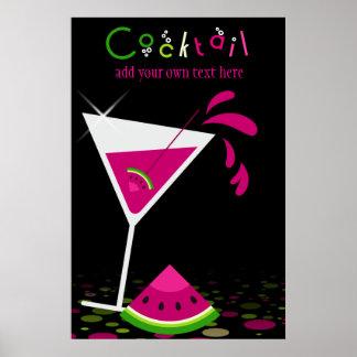 Poster rosado del cóctel de Martini de la sandía