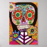 Poster rosado del cráneo del azúcar de la mujer póster