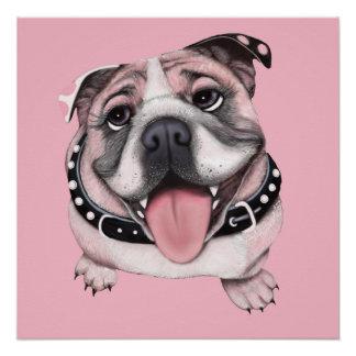 Poster rosado del perro del dogo