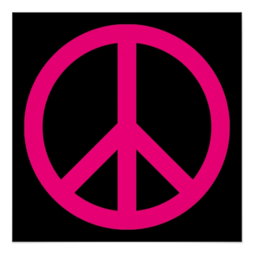 Pegatina rosado del signo de la paz | Zazzle
