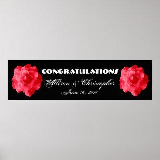 Póster Rosas rojos que se casan o bandera del compromiso